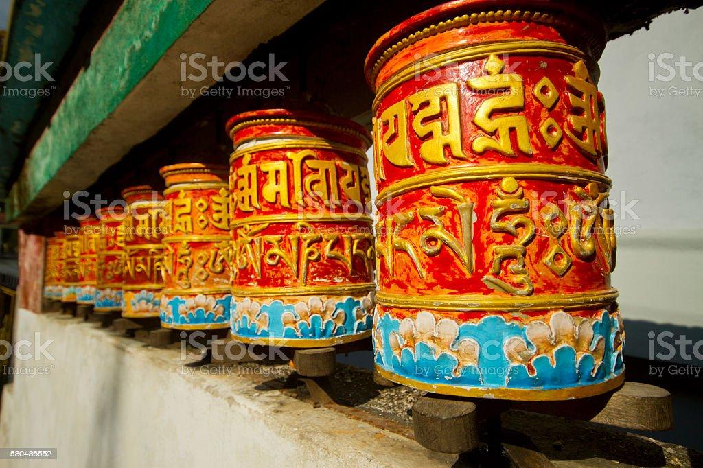 Religious prayer wheels in Sikkim stock photo