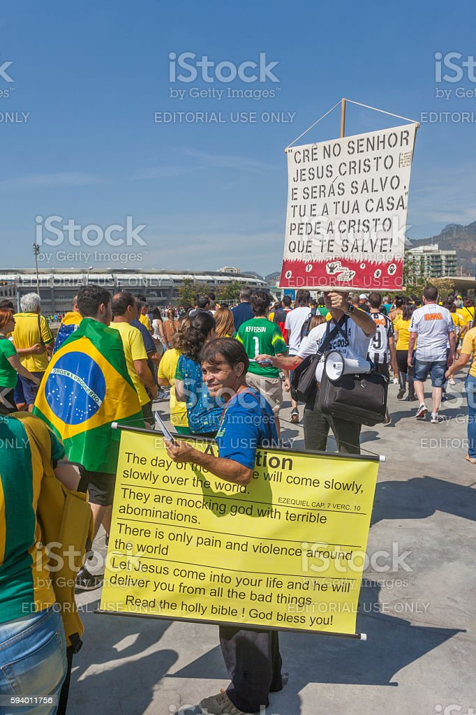 Religious preaching during the Olympics stock photo