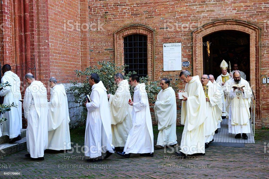 Religious procession of Benedictine Monks stock photo