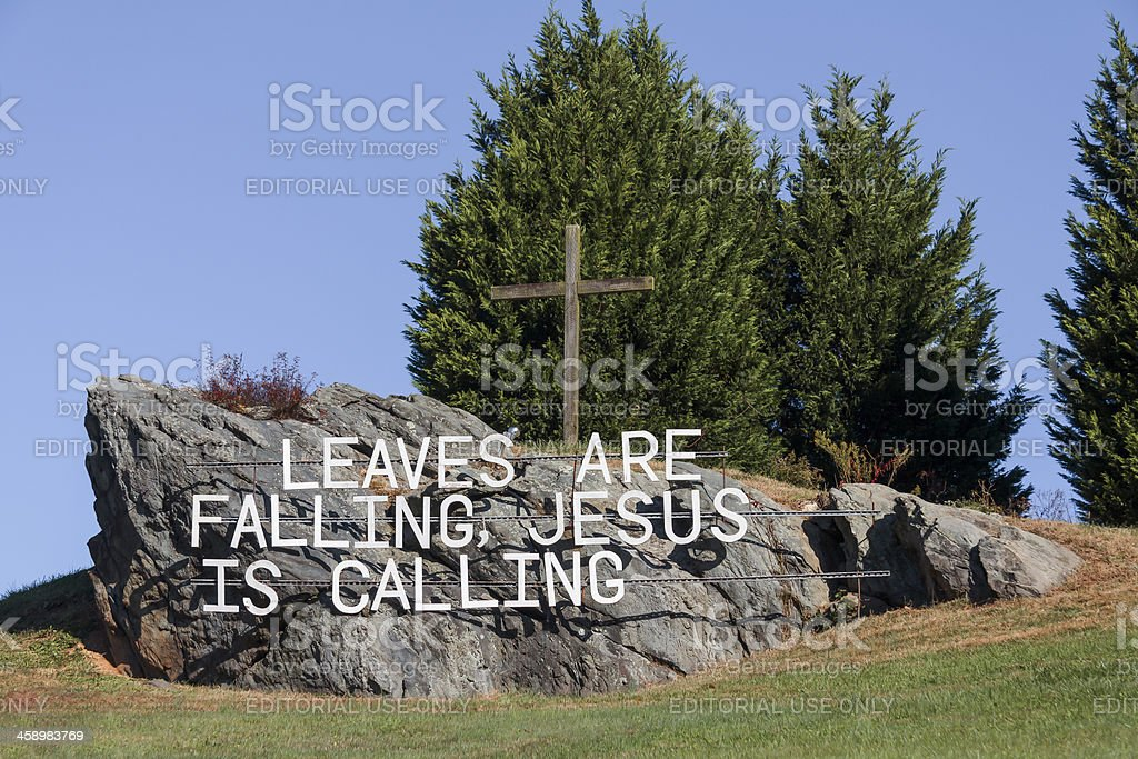 'Religious Sign On a Hill, Jesus Is Calling' stock photo