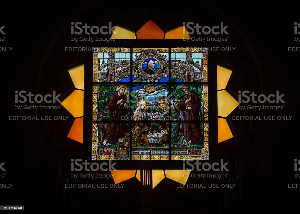 Religious stained glass. The Church Of The Nativity, Bethlehem, Israel stock photo