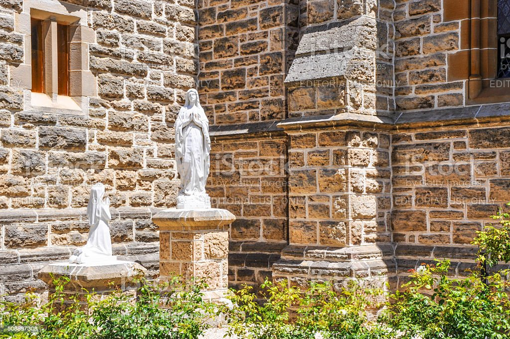 Religious Statues: St. Patrick's Basilica stock photo