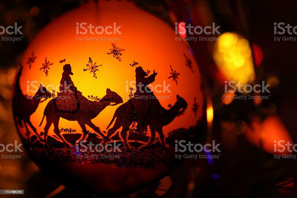 Religious: Three Wise Men Silhouette Christmas Ornament stock photo