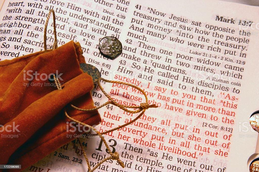 Religious: Widow's Mite Bible Scripture stock photo