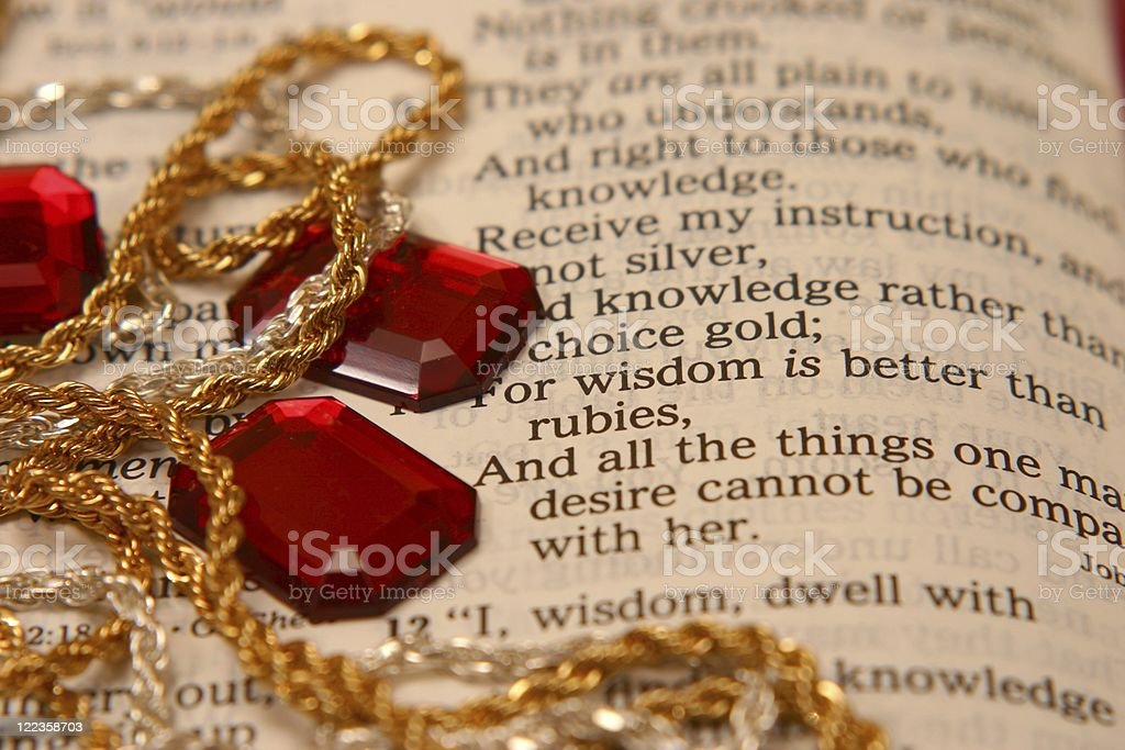 Religious: Wisdom from Proverbs Bible scripture with jewelry (series) stock photo