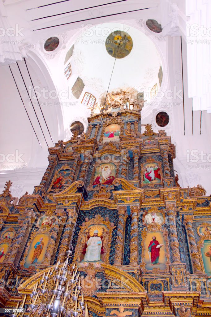Religious work of art in the church stock photo