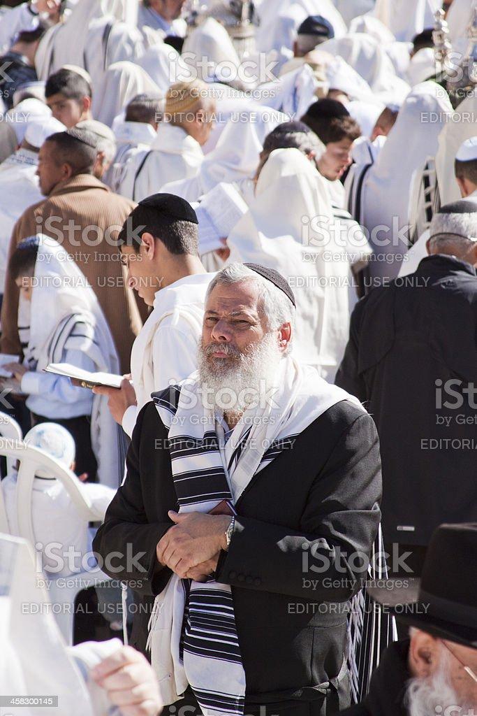 Religous Jew at Wailing Wall stock photo