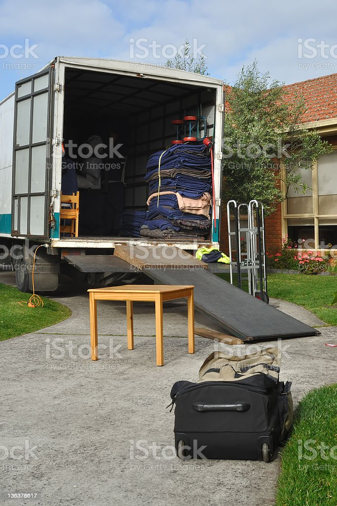 Relocation truck loaded stock photo