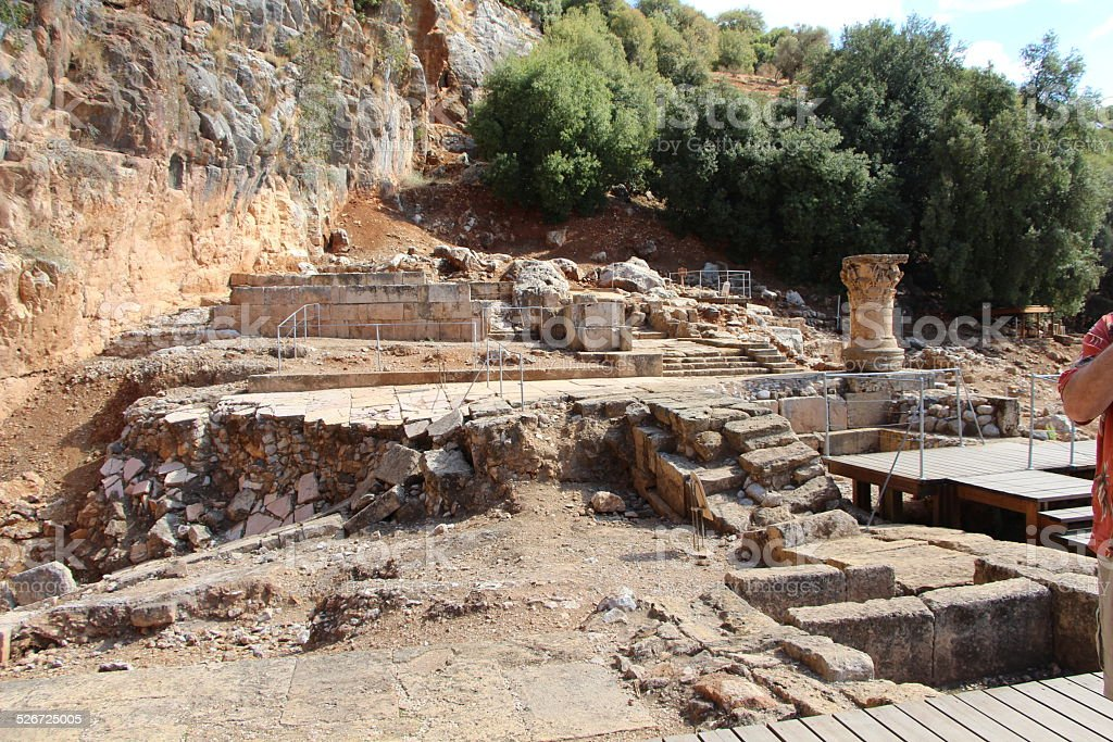 Remaining walls of Temple of Pan stock photo