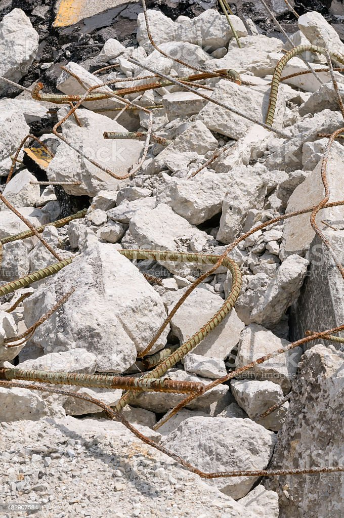 Remains of a crumbling suburban bridge stock photo