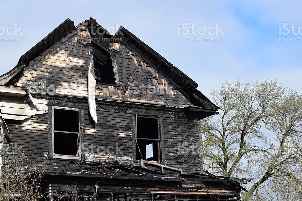 Remains of a House Fire stock photo