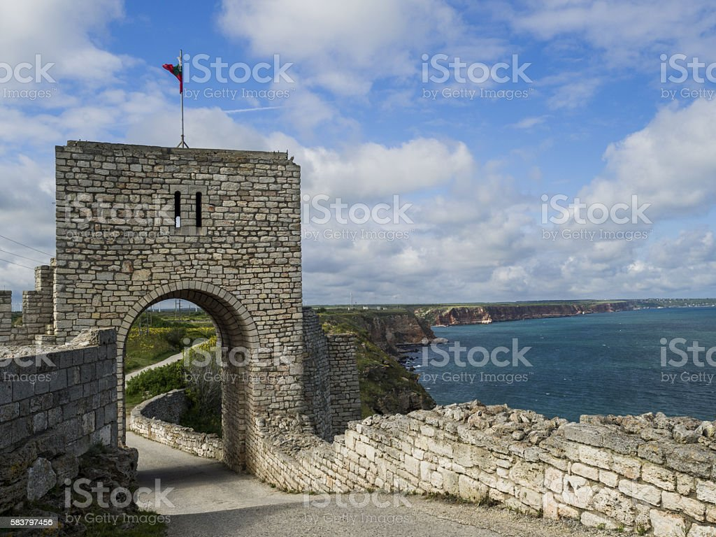 Remains of a Medieval Fortress. Bulgaria. Cape Kalialra. Beautif stock photo