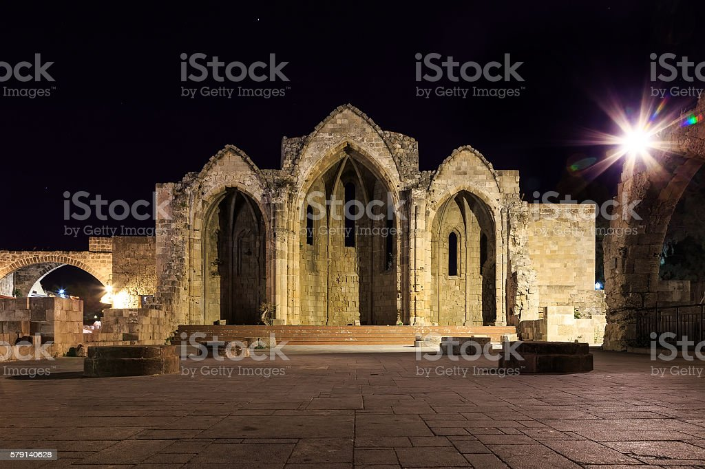 Remains of  Church of  Virgin on  islans of Rhodes, Greece. stock photo