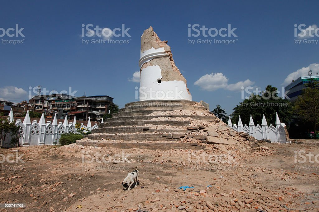 Remains of Dharahara tower in Kathmandu after the earthquake stock photo