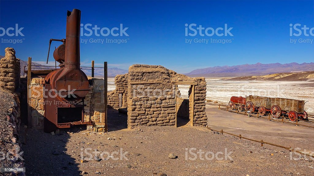 Remains of Harmony Borax Works in Death Valley stock photo