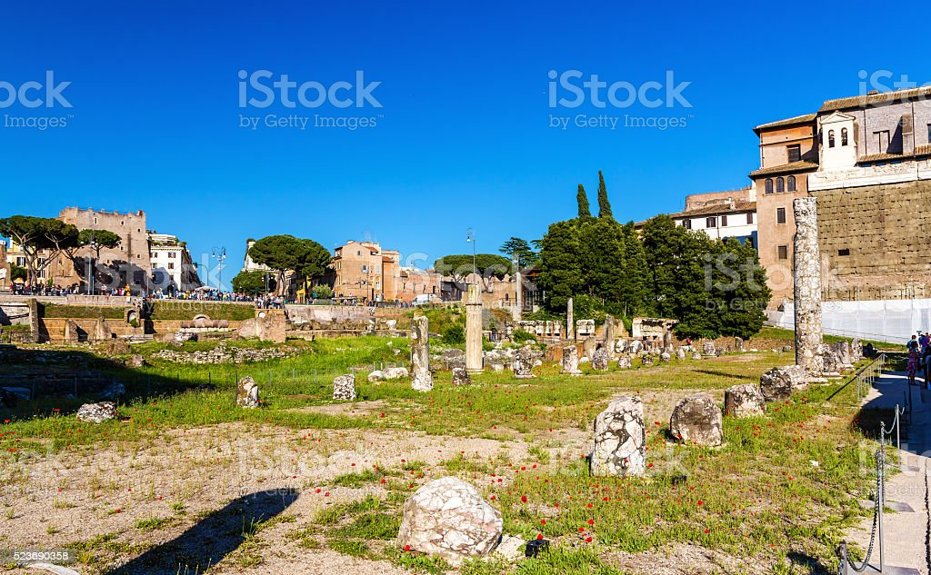 Remains of Nerva Forum in Rome stock photo