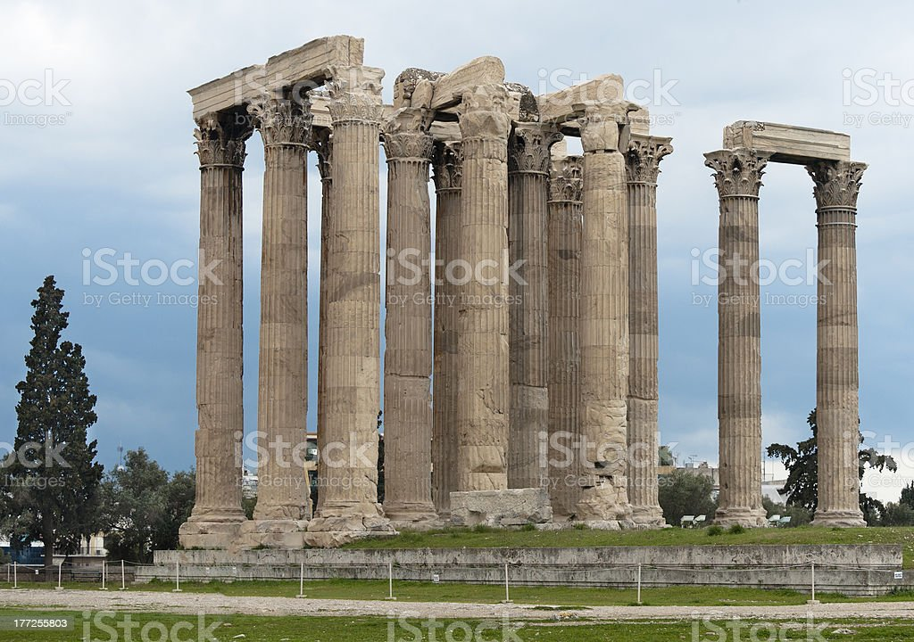 Remains of Olympieion temple royalty-free stock photo