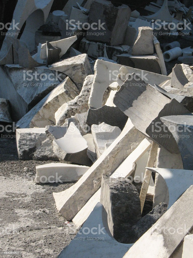 Remains of processing marble royalty-free stock photo