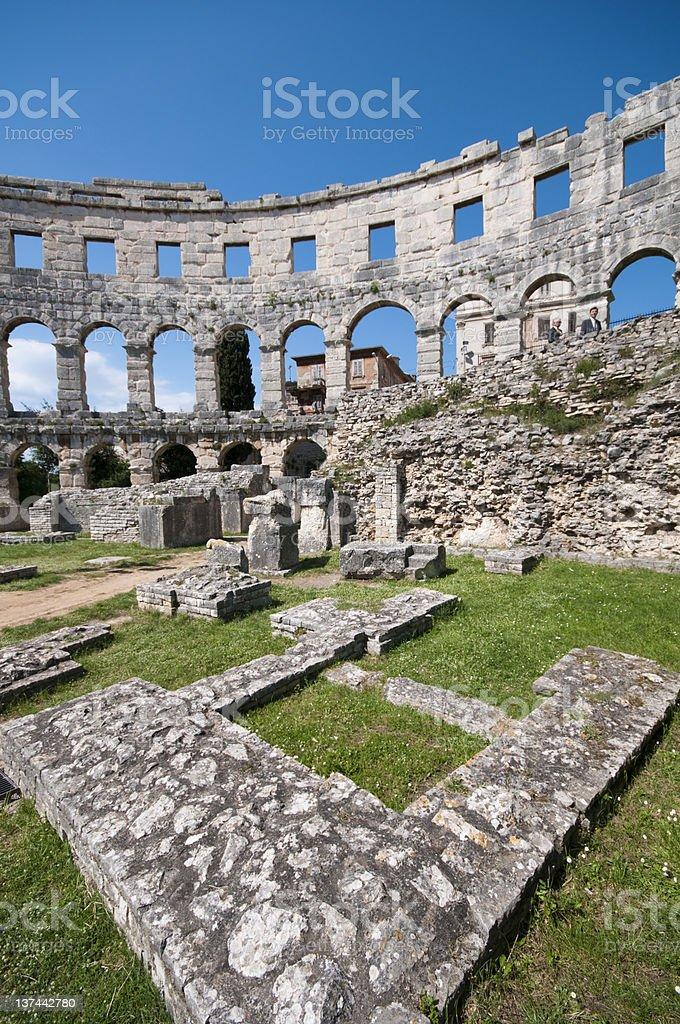 remains of roman amphitheater in Pula, Croatia royalty-free stock photo