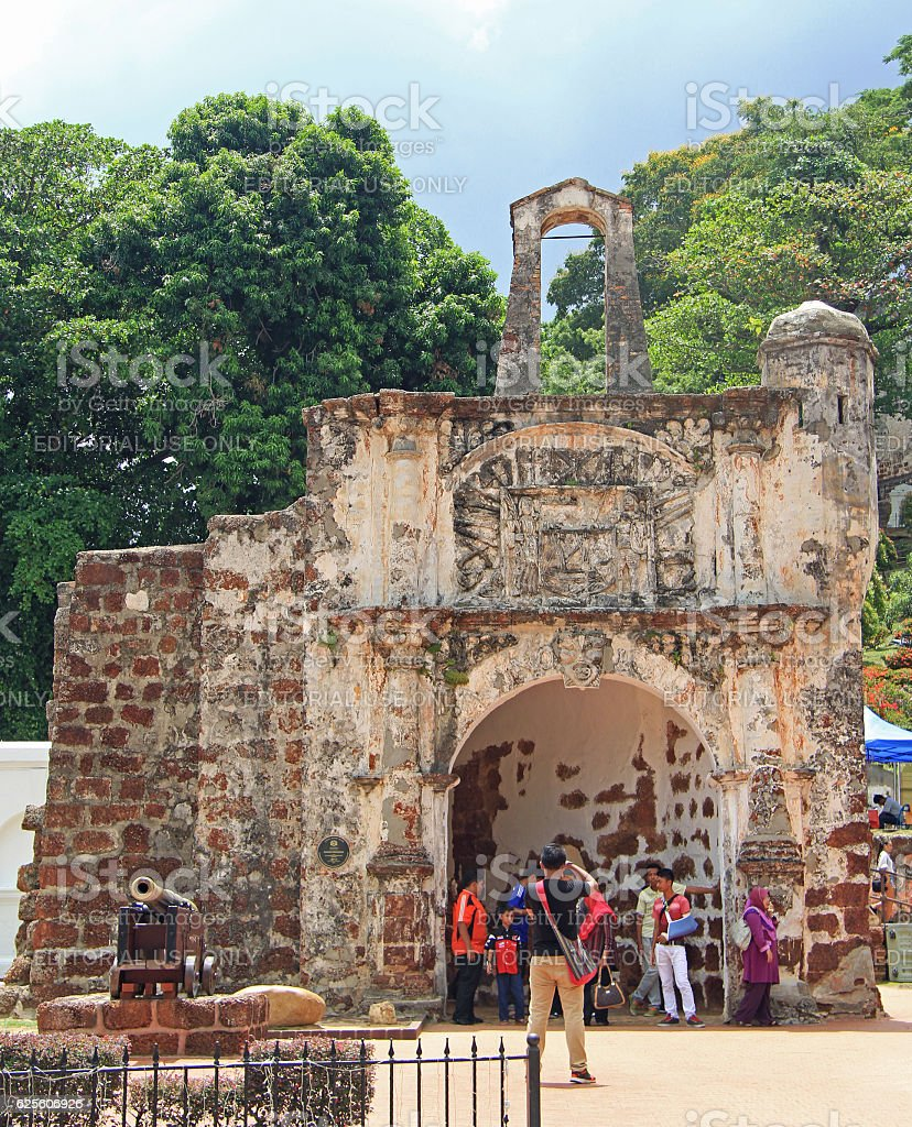 Remains of the A Famosa Portuguese Fort in Malacca, Malaysia stock photo