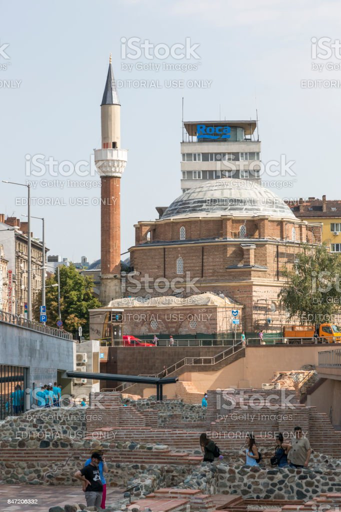 Remains of the ancient Roman amphitheater in the center of Sofia, Bulgaria. stock photo