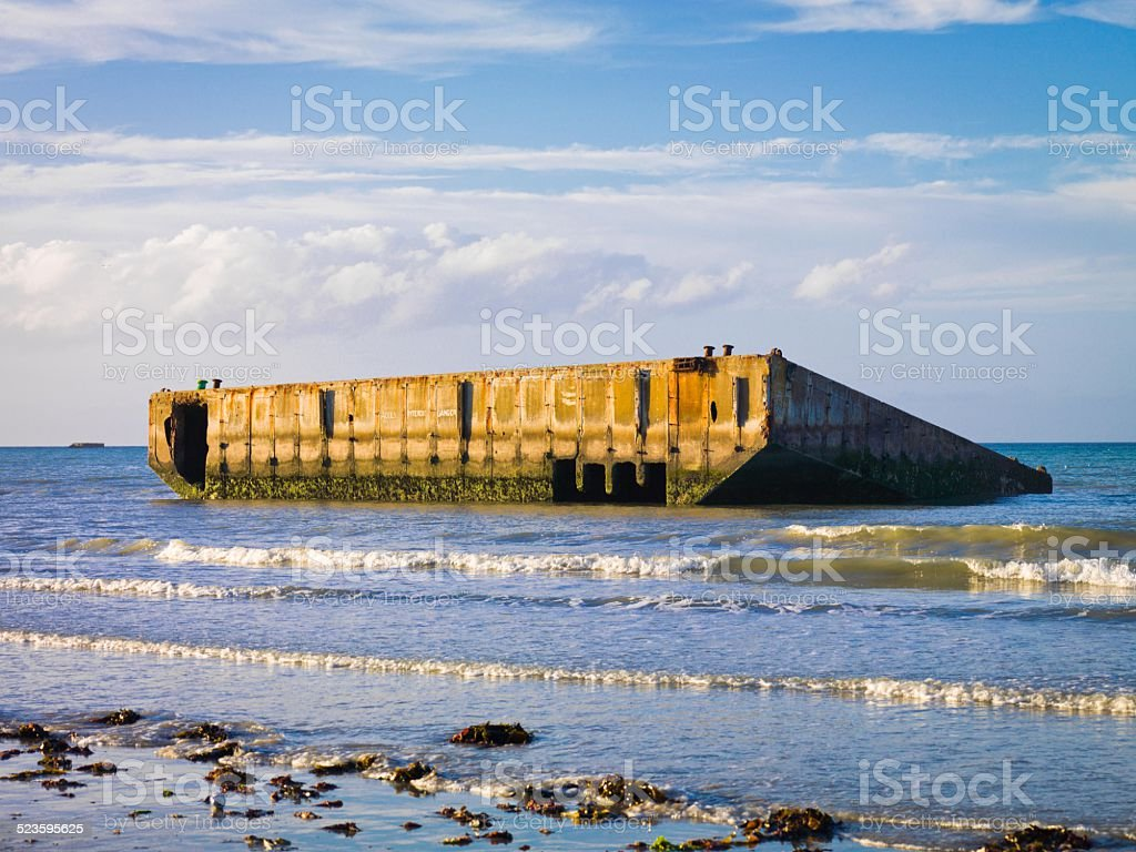 Remains of the artificial Mulberry Harbour at Arromanches, France stock photo
