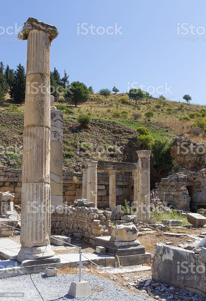 Remains of the basilca stoa, Ephesus, Turkey royalty-free stock photo
