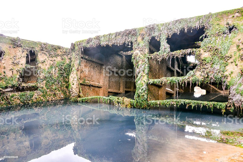 Remains of the Mulberry harbour in Normandy France, Europe stock photo