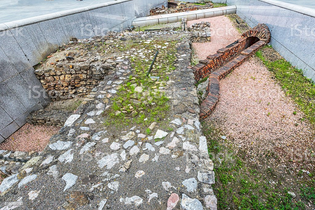 Remains of the Roman military camp at Michaelerplatz in Vienna. stock photo