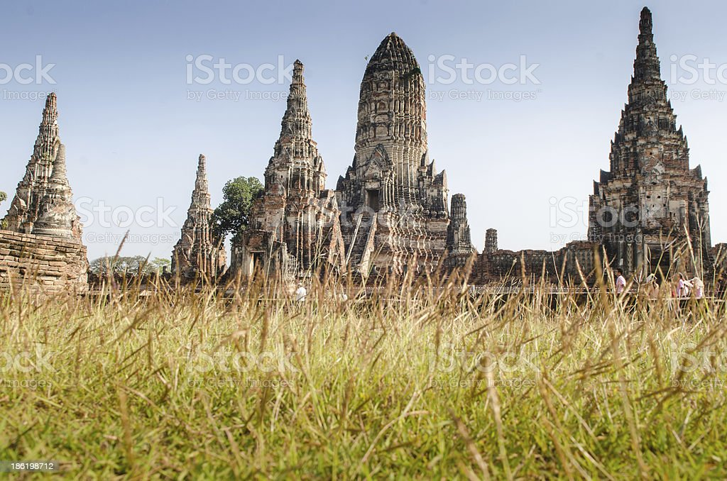 Remains of the temple and Pagoda at Ayutthya Prov royalty-free stock photo