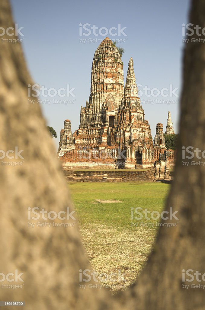 Remains of the temple and Pagoda at Ayutthya Province, Thailand royalty-free stock photo
