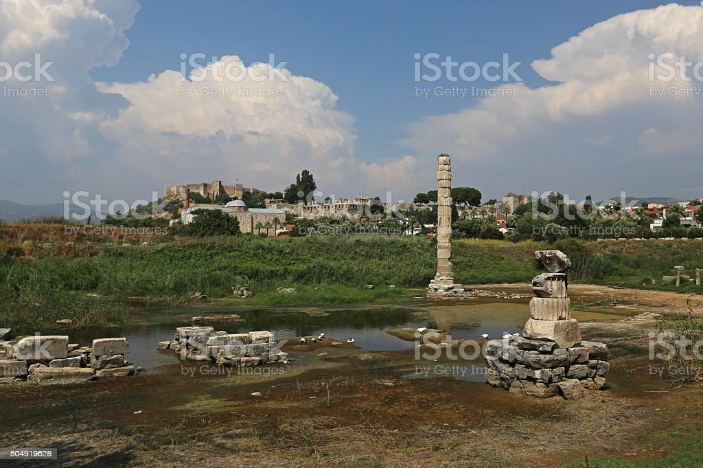 Remains of the Temple of Artemis stock photo
