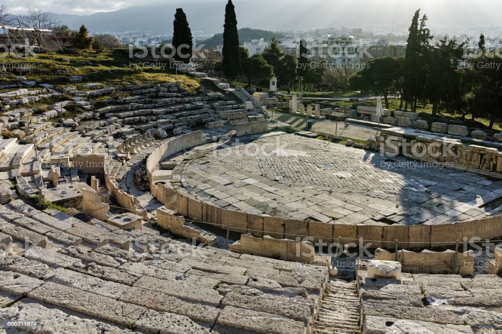Remains of the Theatre of Dionysus in Acropolis of Athens, Greece stock photo
