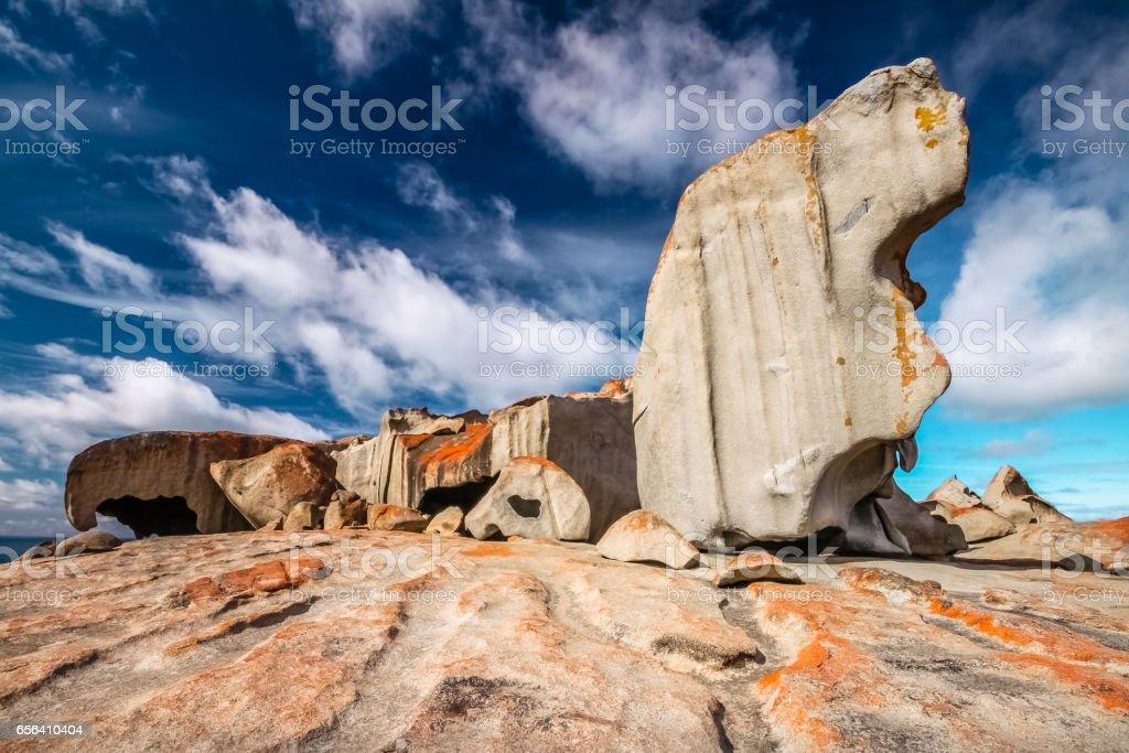 Remarkable rocks with blue and white sky, impressive landmark on Kangaroo Island stock photo