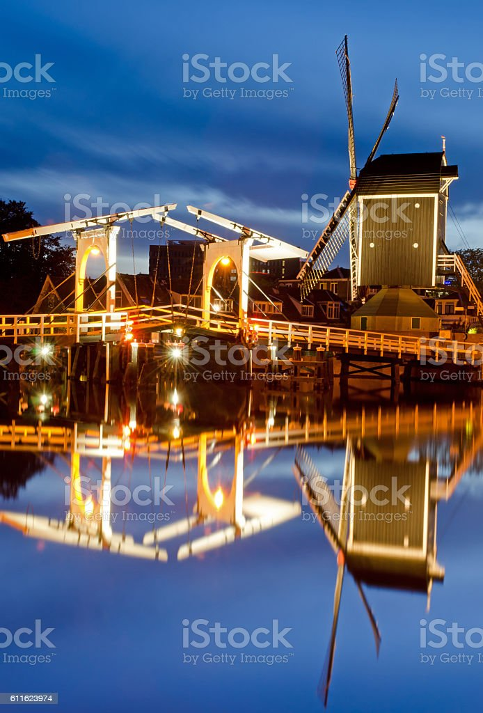 Rembrandt Bridge and mill the pit stock photo