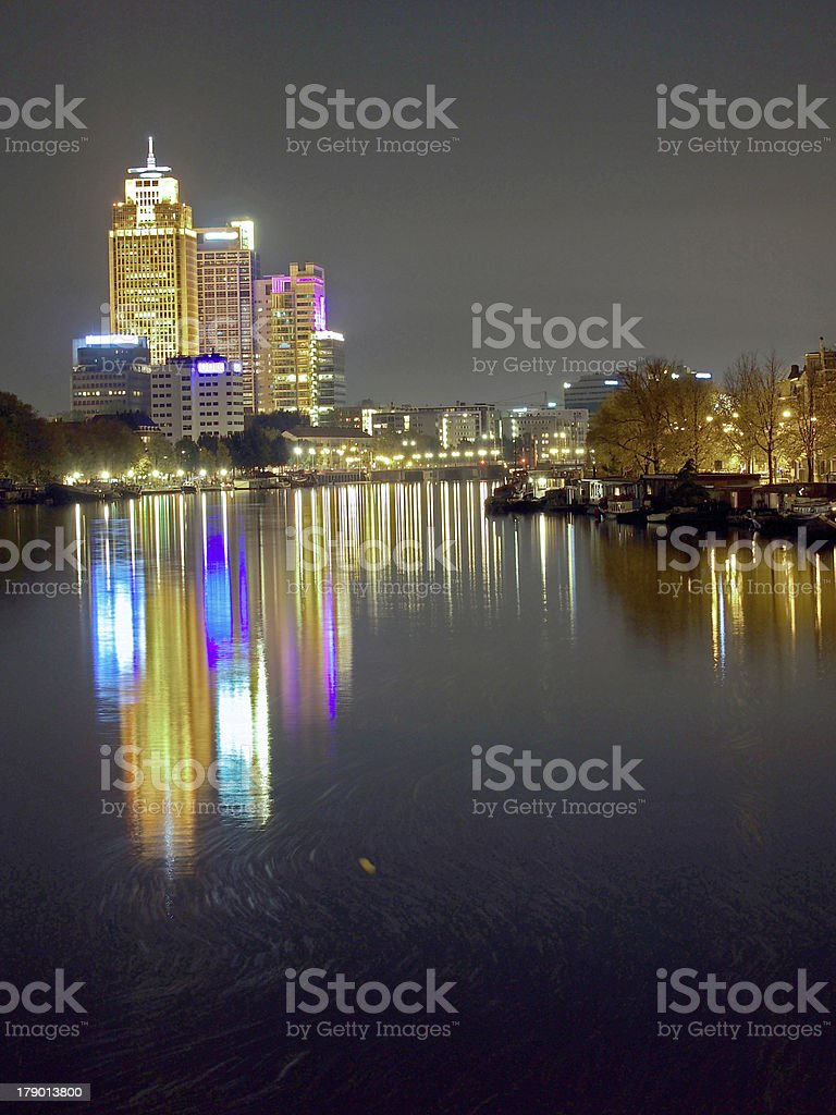Rembrandt tower Amsterdam by night royalty-free stock photo