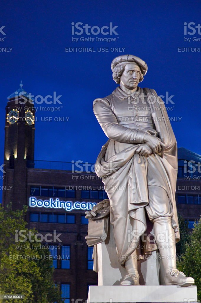 Rembrant monument in front of booking.com headquaters stock photo