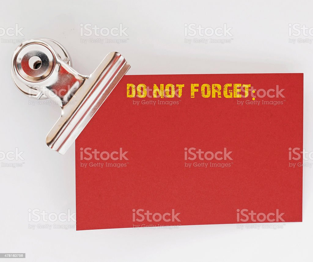 remember red leaf paper stock photo