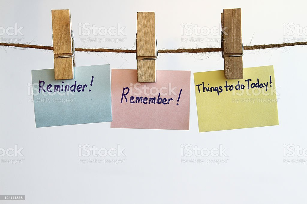 Remember reminder stock photo