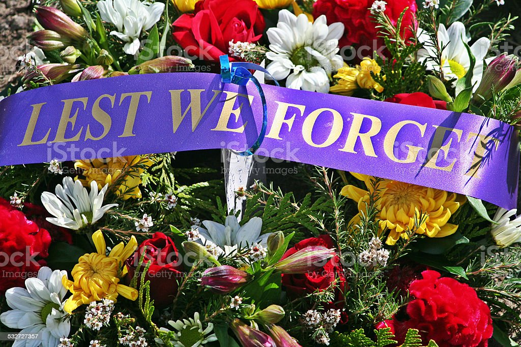 ANZAC Rememberance Day - Lest We Forget Floral Wreath stock photo