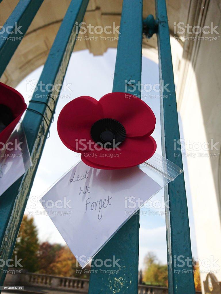 Rememberance poppy on the Nottingham war memorial gate. stock photo