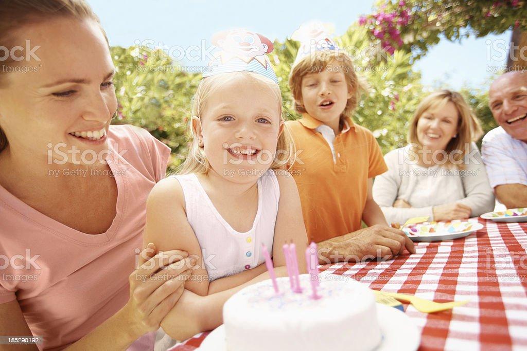 I remembered to make a birthday wish! royalty-free stock photo