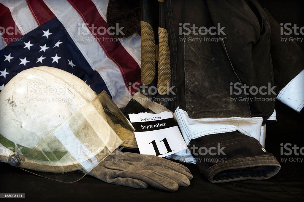 9-11 remembered with an American flag stock photo