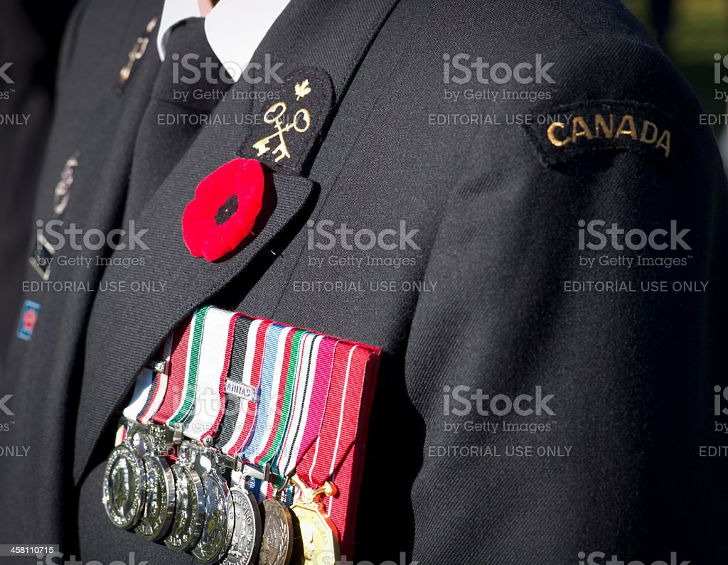 Remembrance Day Ceremony, Dartmouth Nova Scotia, Canada. stock photo