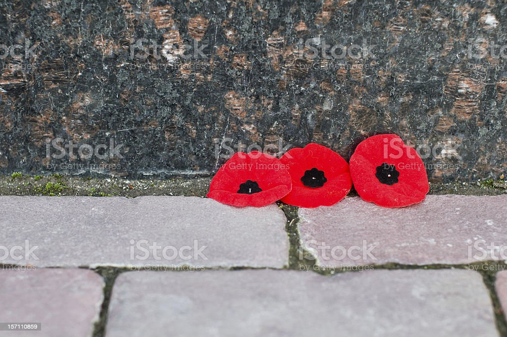 remembrance memorial day poppies marble wall brick walkway stock photo