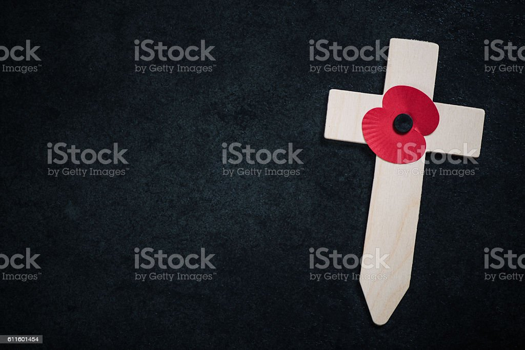 Remembrance poppy appeal cross stock photo