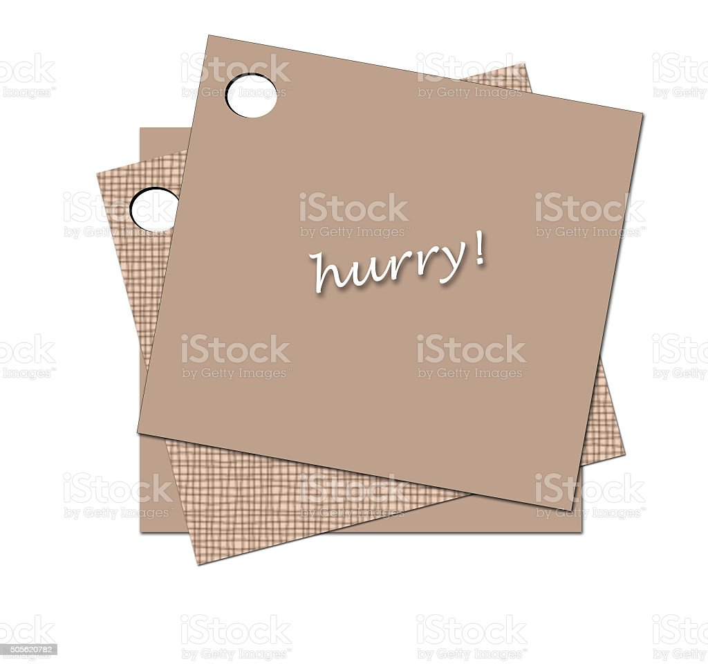 Reminder. Brown sticky note attached on white background stock photo