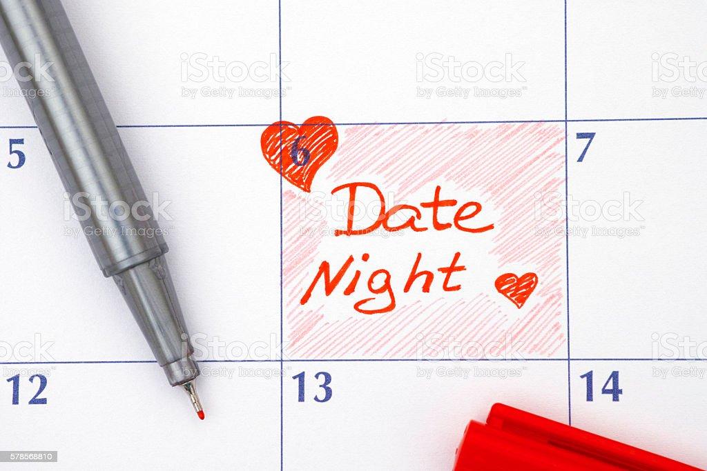 Reminder Date Night in calendar stock photo