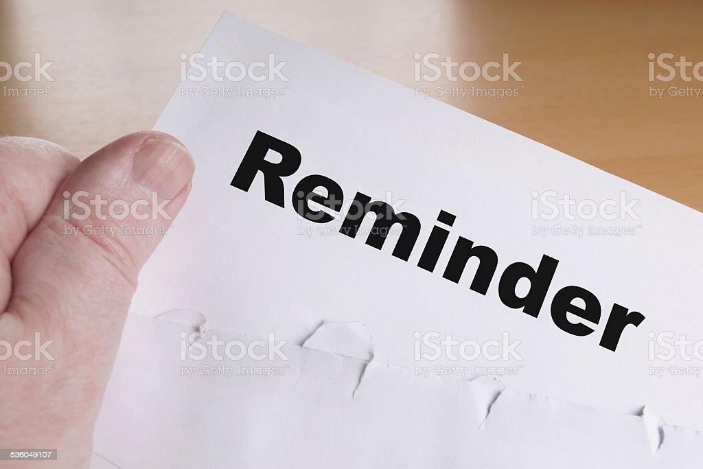 reminder letter stock photo