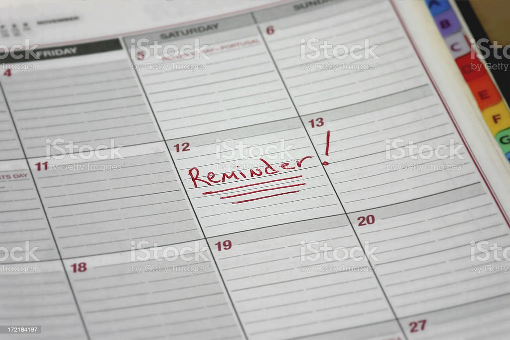 Reminder Marked on a Calendar royalty-free stock photo